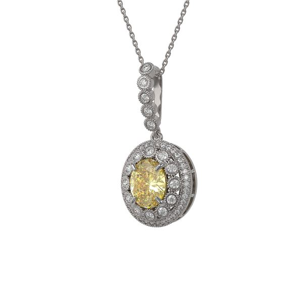 3.87 ctw Canary Citrine & Diamond Victorian Necklace 14K White Gold - REF-120G2W