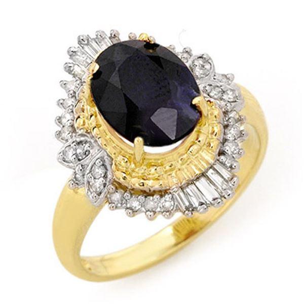 3.01 ctw Blue Sapphire & Diamond Ring 14k Yellow Gold - REF-53N5F