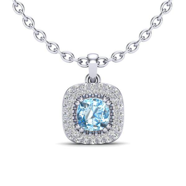 1.08 ctw Sky Blue Topaz & Micro VS/SI Diamond Necklace Halo 18k White Gold - REF-50M8G