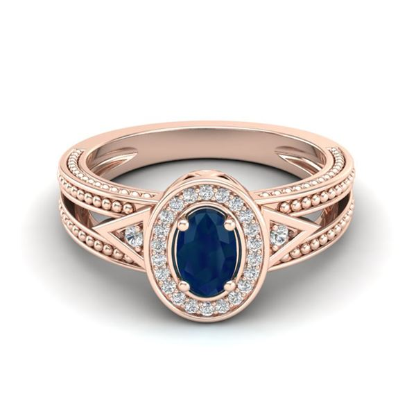 0.83 ctw Sapphire & VS/SI Diamond Halo Fashion Ring 10k Rose Gold - REF-21M8G