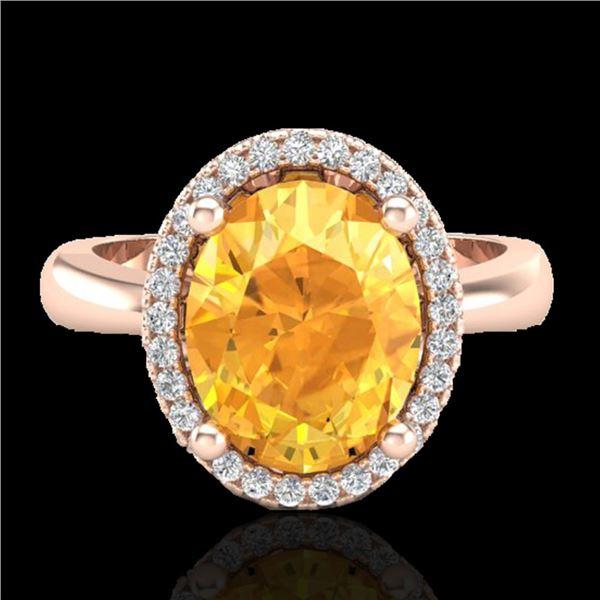 2.50 ctw Citrine & Micro Pave VS/SI Diamond Ring 14k Rose Gold - REF-29N2F