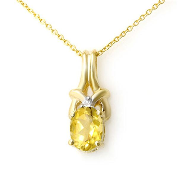 0.67 ctw Citrine & Diamond Pendant 10k Yellow Gold - REF-6G3W