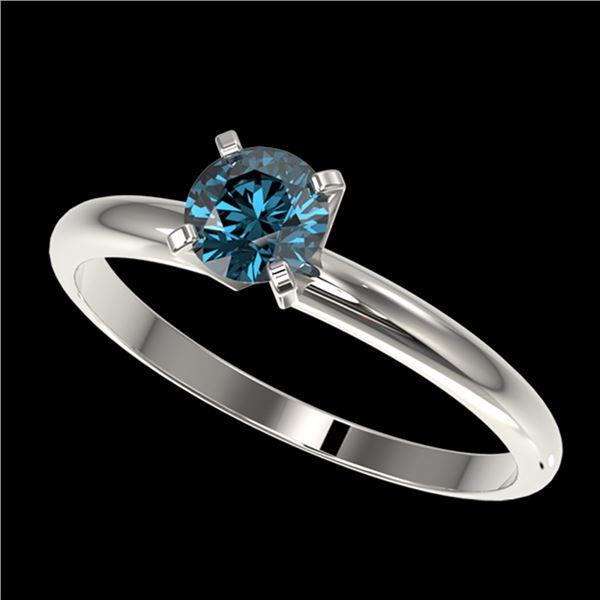 0.55 ctw Certified Intense Blue Diamond Engagment Ring 10k White Gold - REF-47N9F
