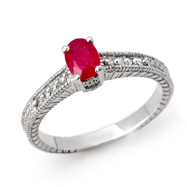 1.01 ctw Ruby & Diamond Ring 18k White Gold - REF-32A8N
