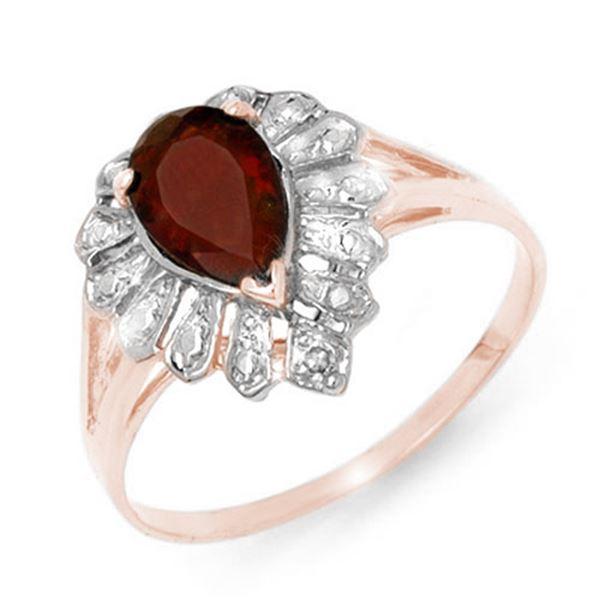 1.11 ctw Garnet & Diamond Ring 18k Rose Gold - REF-18A5N