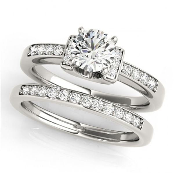 0.76 ctw Certified VS/SI Diamond Solitaire 2pc Set 14k White Gold - REF-100X9A