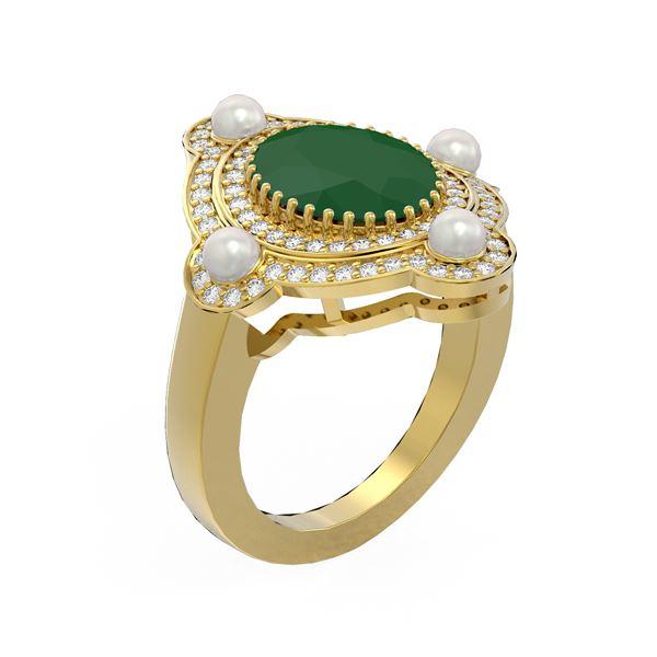 4.78 ctw Emerald & Diamond Ring 18K Yellow Gold - REF-161Y8X