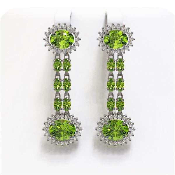 11.96 ctw Peridot & Diamond Earrings 14K White Gold - REF-184K5Y