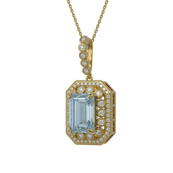 12.5 ctw Sky Topaz & Diamond Victorian Necklace 14K Yellow Gold - REF-199Y3X