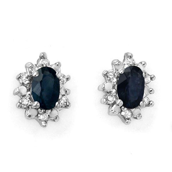 0.86 ctw Blue Sapphire & Diamond Earrings 10k Yellow Gold - REF-13G4W