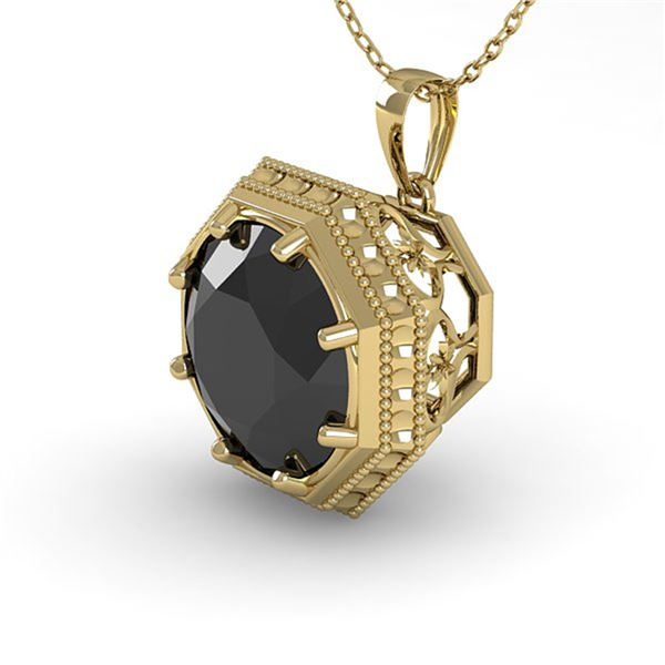 1 ctw Black Certified Diamond Necklace Art Deco 14k Yellow Gold - REF-29K9Y