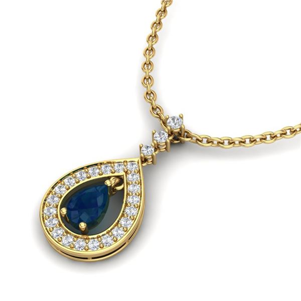 1.15 ctw Sapphire & Micro Pave VS/SI Diamond Necklace 14k Yellow Gold - REF-49K3Y