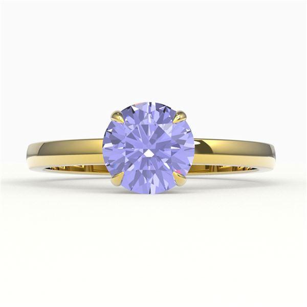 2 ctw Tanzanite Designer Engagment Ring 18k Yellow Gold - REF-39X5A
