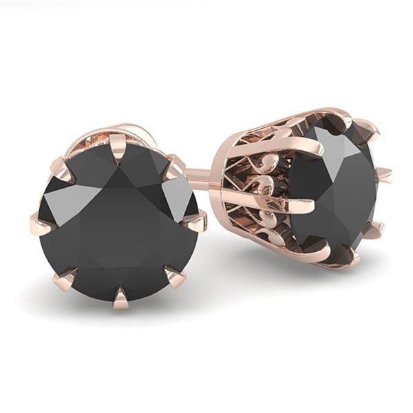 2.0 ctw Black Diamond Stud Solitaire Earrings Vintage 14k Rose Gold - REF-48K9Y