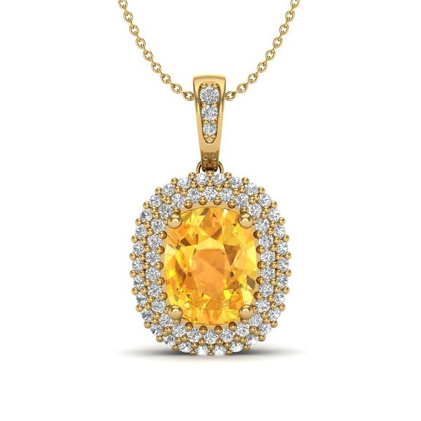 3 ctw Citrine & Micro Pave VS/SI Diamond Necklace 14k Yellow Gold - REF-50H8R