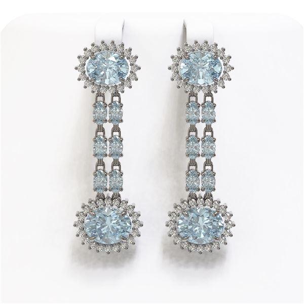 12.82 ctw Sky Topaz & Diamond Earrings 14K White Gold - REF-172X8A