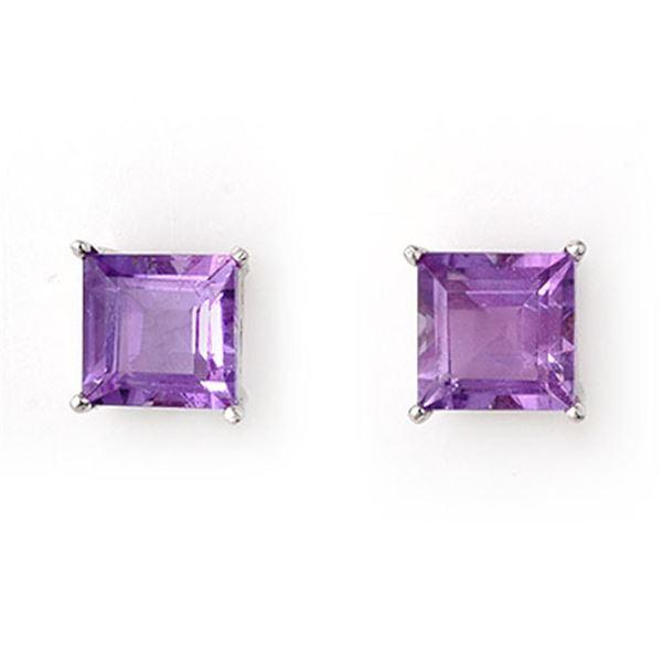 2.0 ctw Amethyst Earrings 14k White Gold - REF-10H2R