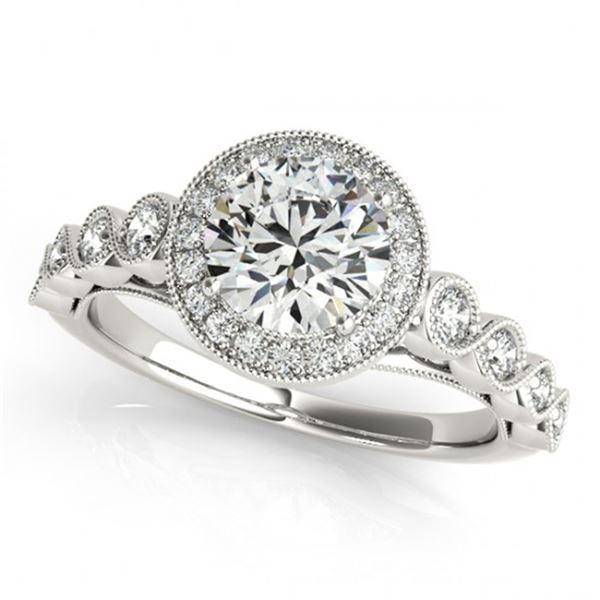 1.05 ctw Certified VS/SI Diamond Halo Ring 18k White Gold - REF-104G2W