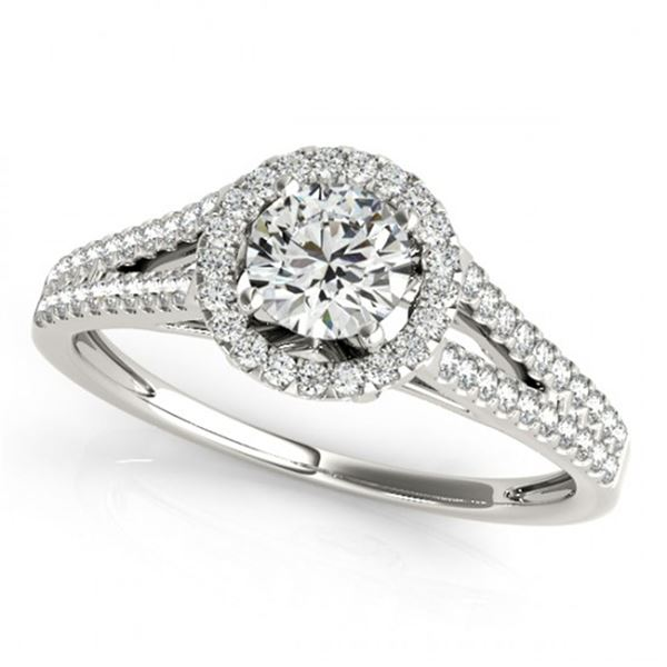 0.8 ctw Certified VS/SI Diamond Halo Ring 18k White Gold - REF-107A8N