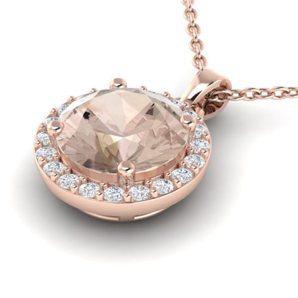 1.75 ctw Morganite & Halo VS/SI Diamond Micro Necklace 14k Rose Gold - REF-42R3K