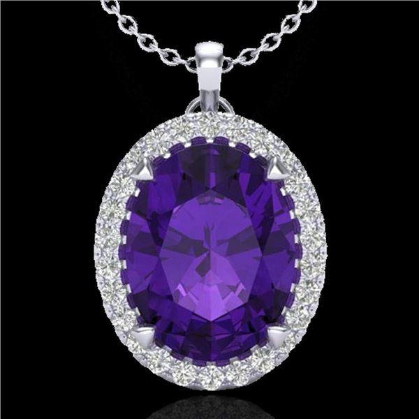 2.75 ctw Amethyst & Micro VS/SI Diamond Halo Necklace 18k White Gold - REF-34X6A