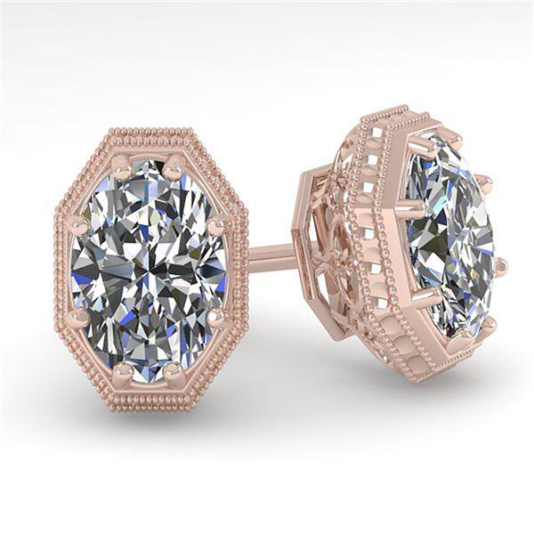 1.0 ctw VS/SI Oval Cut Diamond Stud Earrings Art Deco 18k Rose Gold - REF-170R9K
