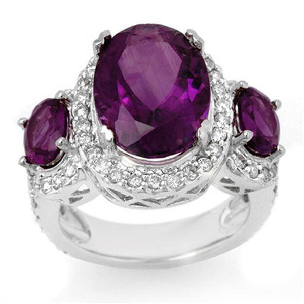 8.0 ctw Amethyst & Diamond Ring 10k White Gold - REF-118M2G
