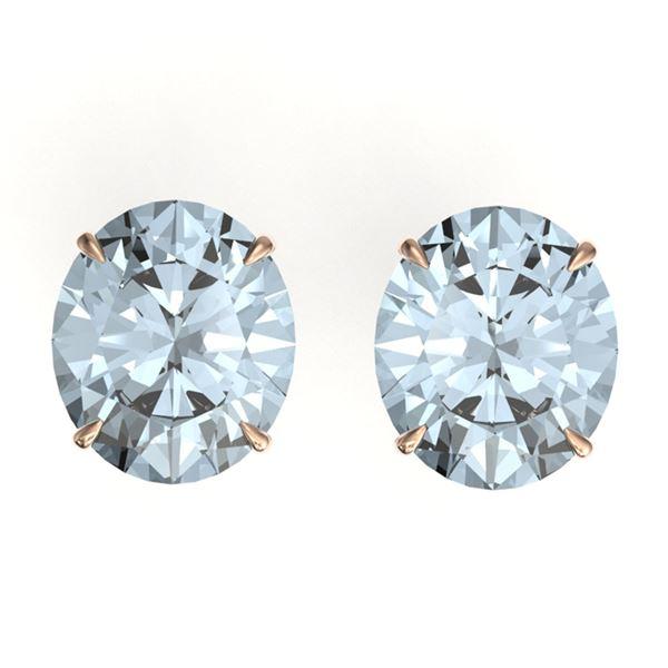 18 ctw Sky Blue Topaz Designer Stud Earrings 14k Rose Gold - REF-42W6H
