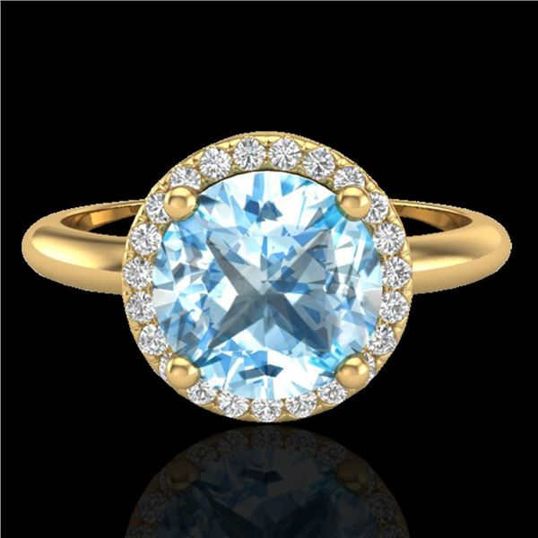 2.70 ctw Sky Blue Topaz & Micro VS/SI Diamond Ring 18k Yellow Gold - REF-38H2R