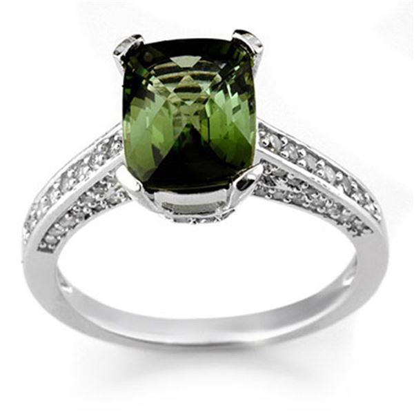 3.50 ctw Green Tourmaline & Diamond Ring 14k White Gold - REF-78X2A