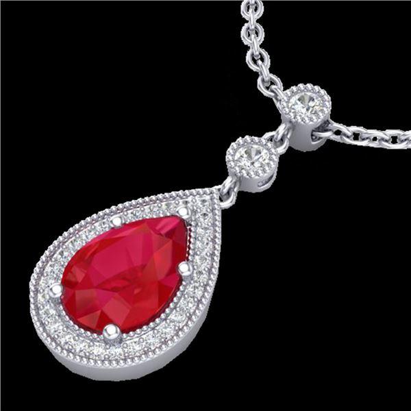 2.75 ctw Ruby & Micro Pave VS/SI Diamond Necklace 18k White Gold - REF-44H4R