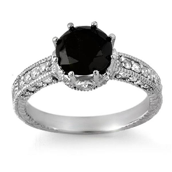 2.0 ctw VS Certified Black & White Diamond Ring 14k White Gold - REF-100F2M