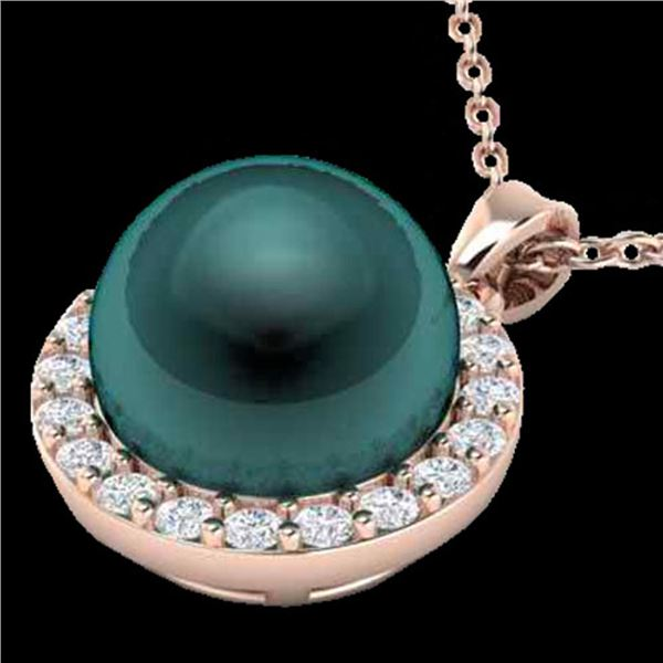 0.25 ctw Micro Pave Diamond & Peacock Pearl Necklace 14k Rose Gold - REF-25H4R