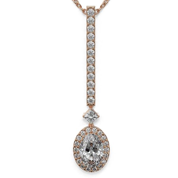 1.3 ctw Oval Cut Diamond Designer Necklace 18K Rose Gold - REF-157X2A