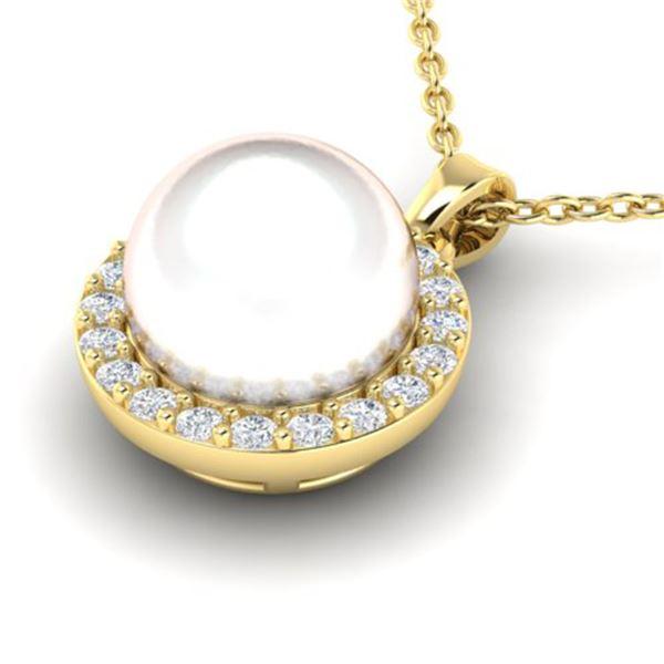 0.25 ctw Micro VS/SI Diamond & White Pearl Necklace 18k Yellow Gold - REF-30R8K