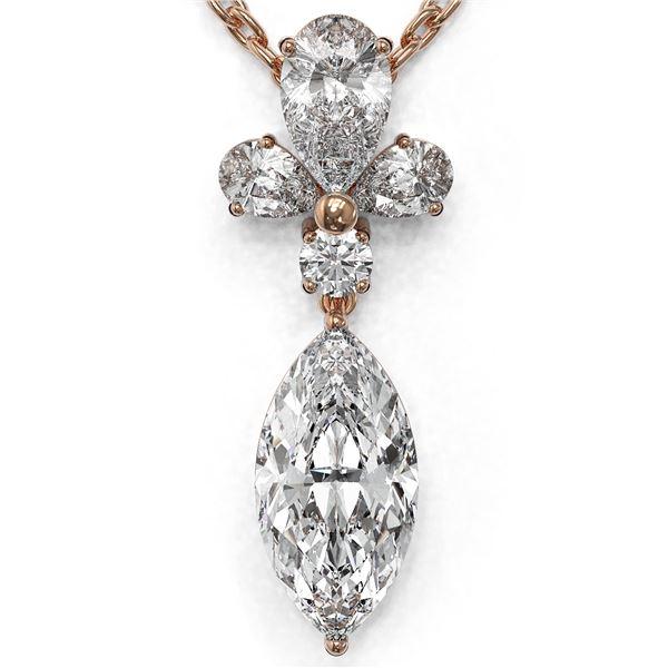 1.4 ctw Marquise Cut Diamond Designer Necklace 18K Rose Gold - REF-181A2N