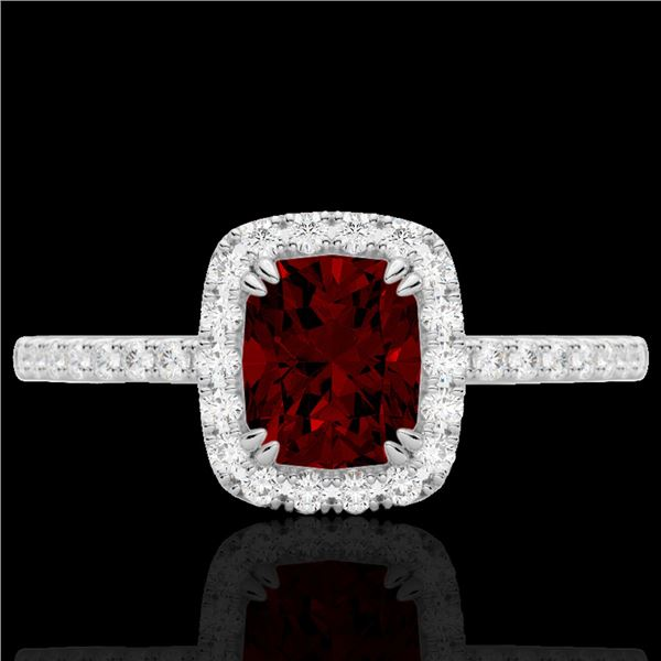 1.25 ctw Garnet & Micro Pave VS/SI Diamond Certified Ring 10k White Gold - REF-24N8F