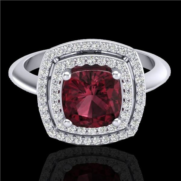 2.27 ctw Garnet & Micro VS/SI Diamond Pave Ring 18k White Gold - REF-50M6G