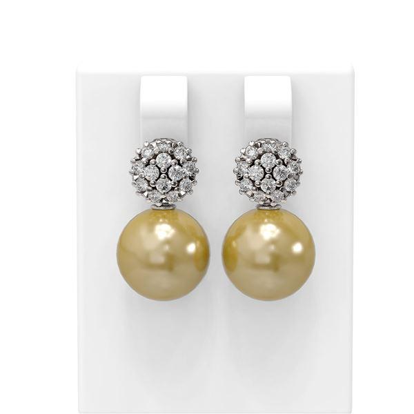 0.63 ctw Diamond & Pearl Earrings 18K White Gold - REF-71W6H