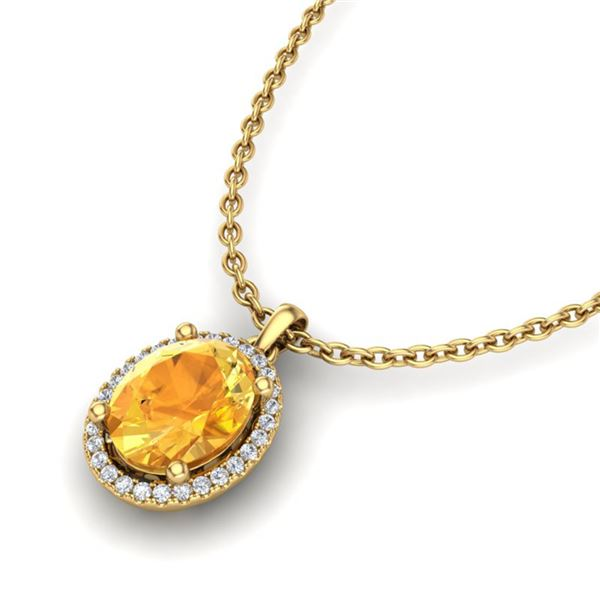 2.50 ctw Citrine & Micro Pave VS/SI Diamond Necklace 18k Yellow Gold - REF-36X6A