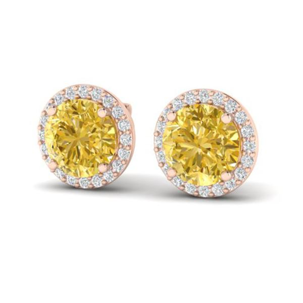 4 ctw Citrine & Halo VS/SI Diamond Micro Pave Earrings 14k Rose Gold - REF-49R3K
