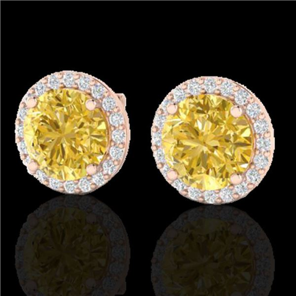 4 ctw Citrine & Halo VS/SI Diamond Micro Pave Earrings 14k Rose Gold - REF-49Y3X