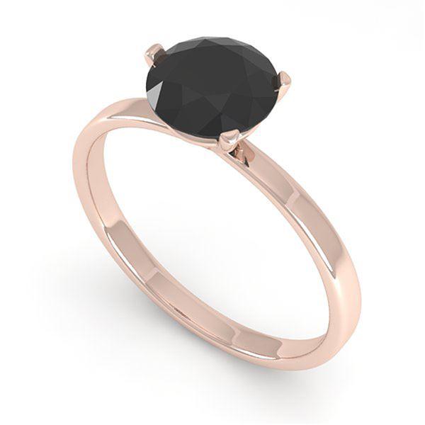 1.0 ctw Black Certified Diamond Engagment Ring Martini 14k Rose Gold - REF-25N9F
