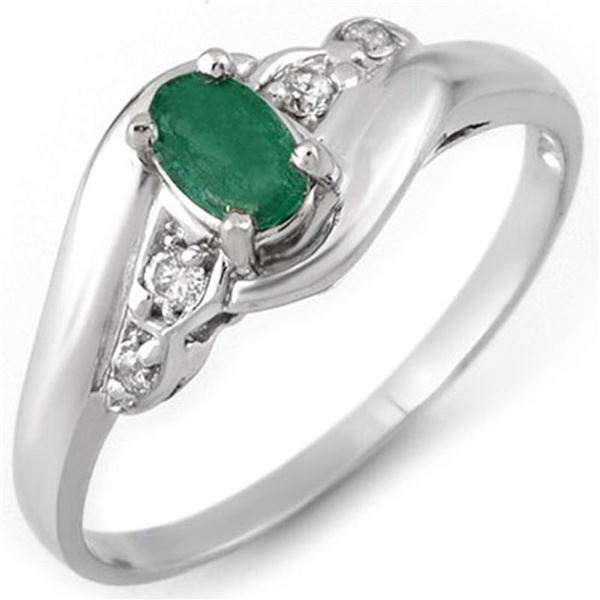0.42 ctw Emerald & Diamond Ring 18k White Gold - REF-22N6F