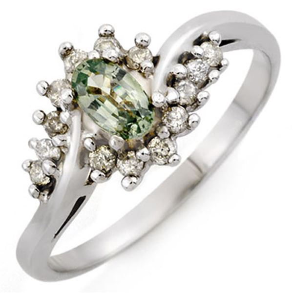 0.55 ctw Green Sapphire & Diamond Ring 10k White Gold - REF-20Y5X