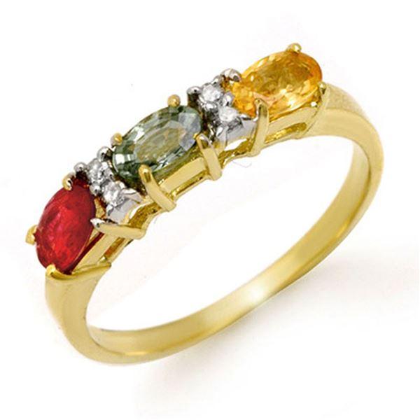 1.10 ctw Multi-Sapphire & Diamond Ring 10k Yellow Gold - REF-16X6A
