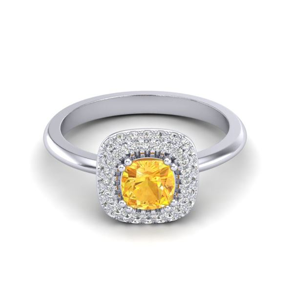 1.16 ctw Citrine & Micro VS/SI Diamond Ring Halo 18k White Gold - REF-53K5Y