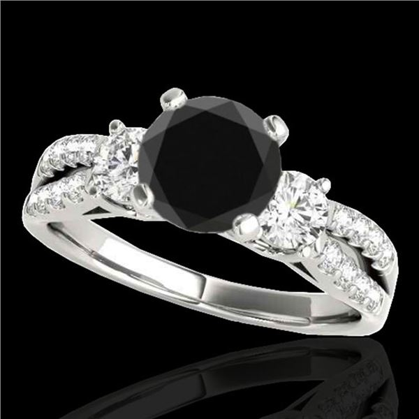 1.5 ctw Certified VS Black Diamond 3 Stone Ring 10k White Gold - REF-53X2A