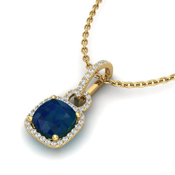 3 ctw Sapphire & Micro VS/SI Diamond Certified Necklace 18k Yellow Gold - REF-56A2N