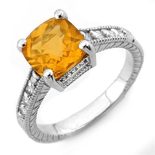 3.25 ctw Citrine & Diamond Antique Ring 18k White Gold - REF-49N3F